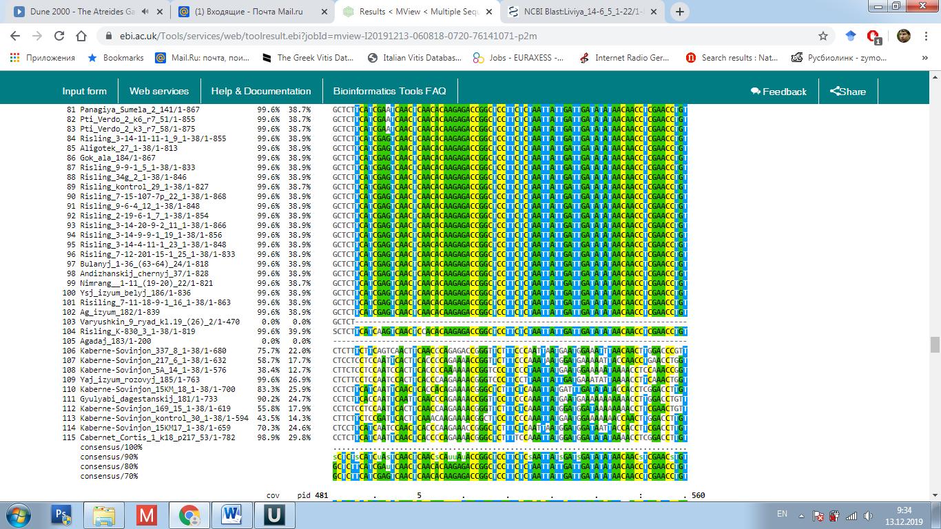 word image 2611 Сравнительное изучение строения генов VvmybA1 и VvmybA2, контролирующих антоциановую окраску ягод у отечественных и зарубежных сортов винограда с целью создания молекулярно-генетических маркеров для отбора высококачественных технических и столовых сортов