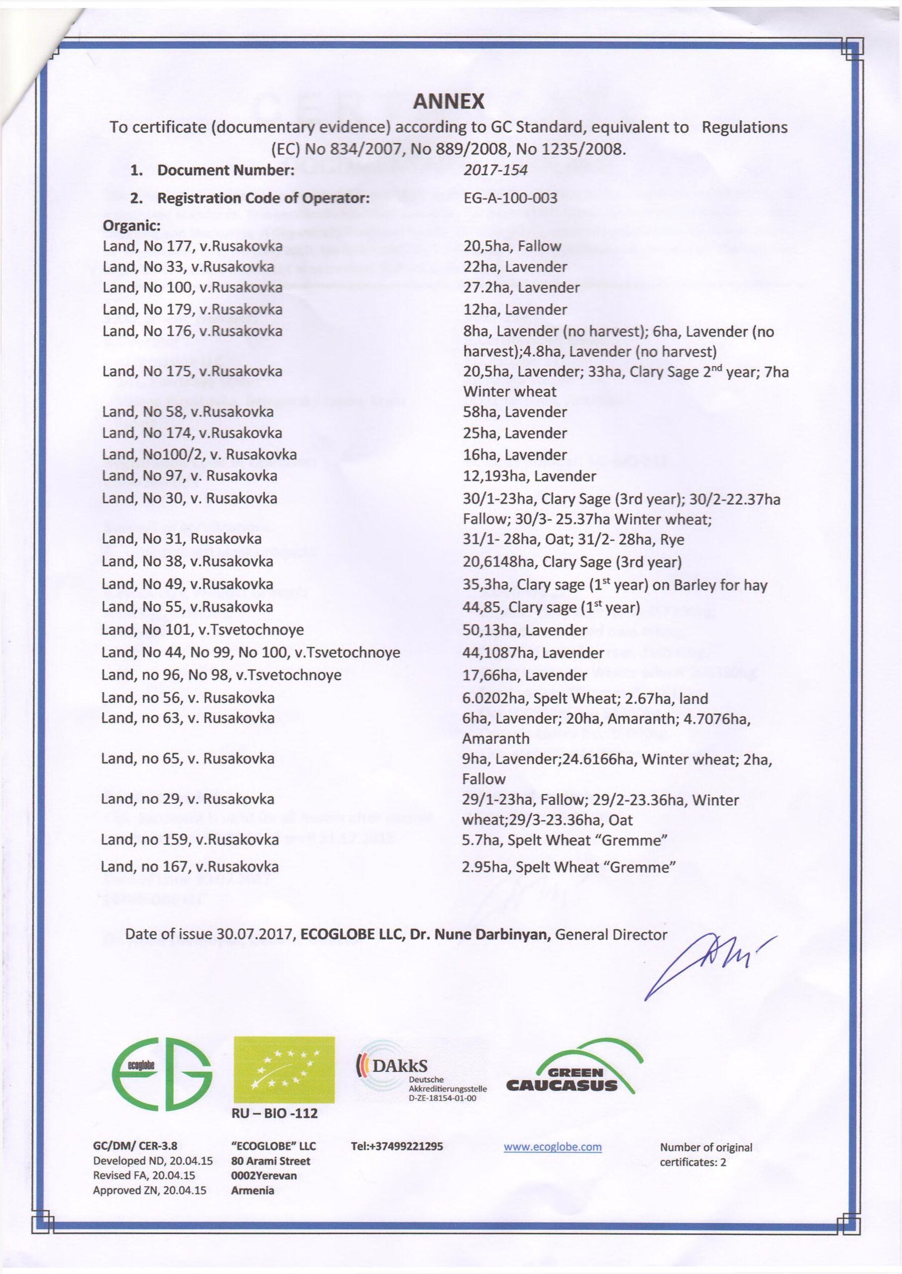 word image 105 scaled Комплексное эколого-химическое обследование по международным стандартам «Органик» хозяйства - экспортера и обоснование целесообразности производства органической продукции в условиях юга России